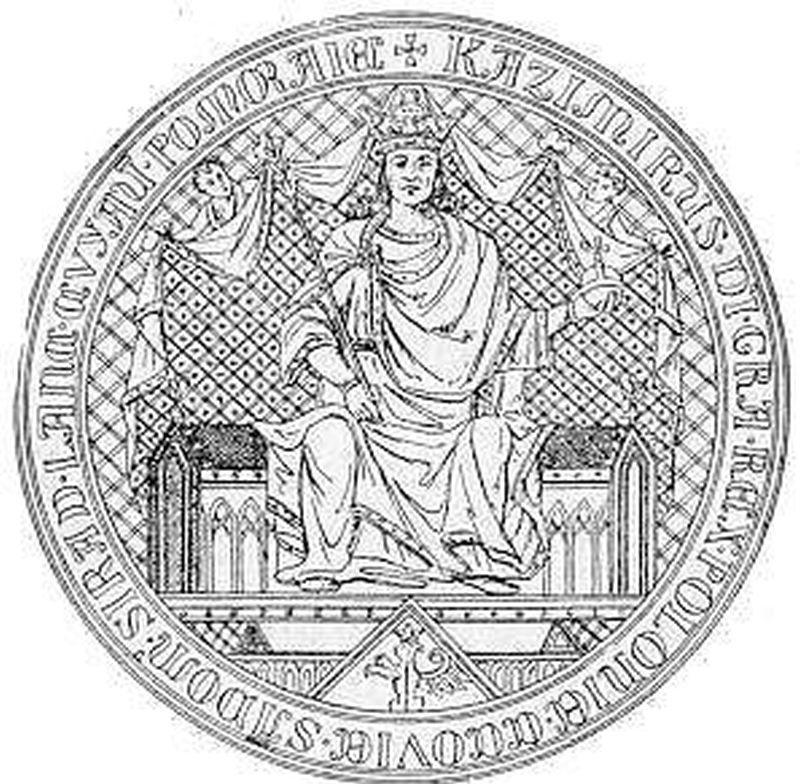 Kazmierz Wielki, król Polski miał własną pieczęć - wizerunek króla na pieczęci królewskiej