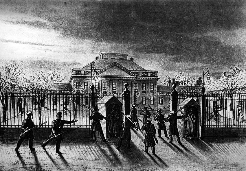 Wybuch powstania listopadowego rozpoczął się od zdobycia Belwederu - wydarzenie przedstawione na rycinie Jabłońskiego