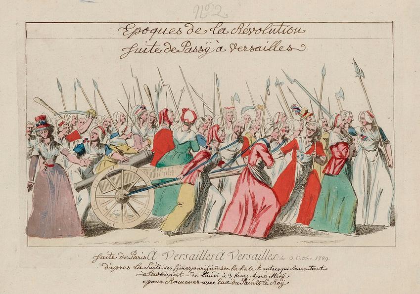 Marsz kobiet na Wersal to ważne wydarzenia z kalendarium Rewolucji Francuskiej - wyobrażenie na obrazie z Gallica Library