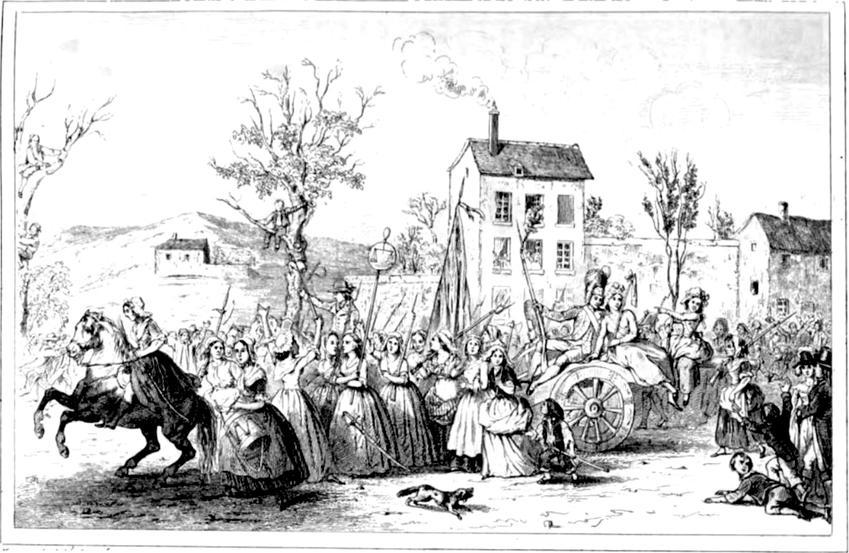 Marsz kobiet na Wersal był bohaterskim wyczynem w czasie Rewolucji Francuskiej - rycina Augustna Challamella