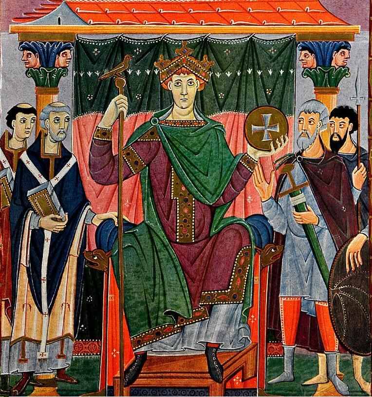 Otton III, cesarz Niemiec, przyjechał na Zjad w Gnieźnie z Bolesławem Chrobrym - wizerunek władcy z Ewangeliarza 1000 r.
