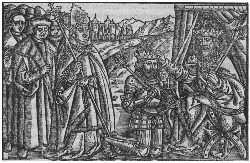 Zjazd gnieźnieński zakończył się koronacją Bolesława Chrobrego przez Ottona III - rycina Mikołaja Miechowity