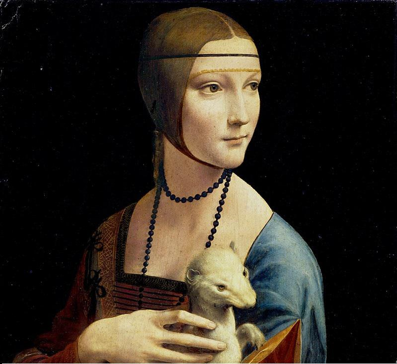 Dama z gronostajem - obraz autorstwa Leonarda da Vinci jest jedynym obrazem malarza dostępnym w Polsce