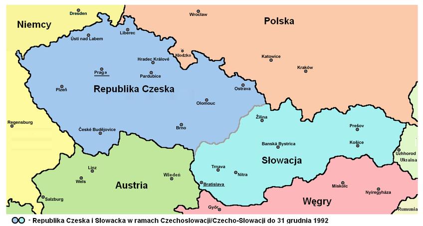 Rozpad Czechosłowacji sprawił, ze powstały dwa odrębne państwa - mapa obrazująca przebieg granic między Czechami a Słowacją