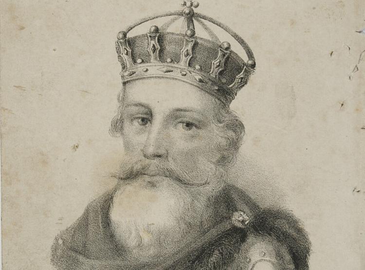 Kazmierz Wielki miał trzy córki, z czego jedna, Kunegunda nie była szczęśliwa w małżeństwie - król na rycinie z 1852 r.