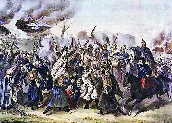 Przebieg powstania styczniowego to raczej drobne potyczki i bitwy - Bitwa pod Węgrowem na anonimowej litografii