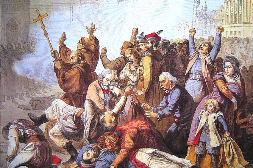 Wybuch powstania styczniowego to konsekwencja działania i opresji rosji w Królestwie Polskim - na obrazie strzelanina do manifestantów w Warszawie w 1861 r. obraz Tonego Roberta Fleury