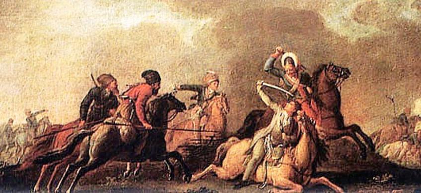 Bitwa pod Maciejowicami zakończyła się klęską, a Tadeusz Kościuszko został w niej ranny. Wyobrażenie tego wydarzenia na obrazie Jana B. Plerscha
