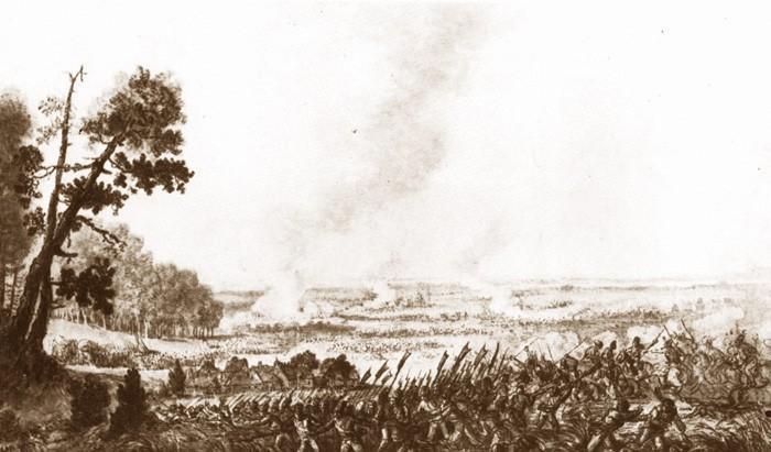 Bitwa pod Maciejowicami była starciem miedzy Rosją a Polską. Widok pola bitwy ze strony Polaków namalował Orłowski na obrazie Maciejowice 2