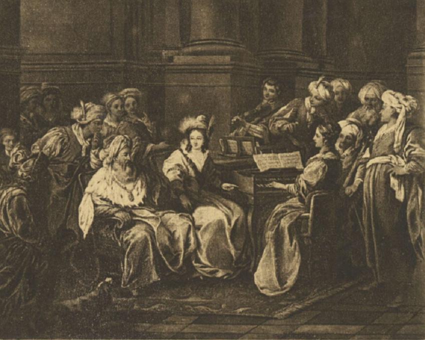 Sulejman Wspaniały związał się z Roskoliną, nieznaną Rosjanką - na obrazie przedstawiony władca z kochanką i malarz utrwalający jego wizerunek