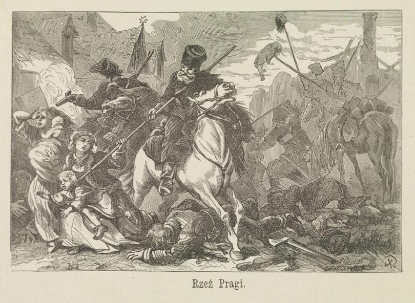 Obrona Pragi w 1794 roku zakończyła się Rzezią Pragi - czarno-biała rycina Aleksandra Orłowskiego upamiętniająca rzeź Pragi