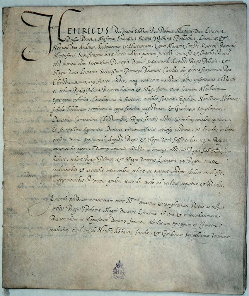 Pacta conventa, czyli dokumenty podpisywane przez królów elekcyjnych Polski: Henryka Walezego i Stefana Batorego
