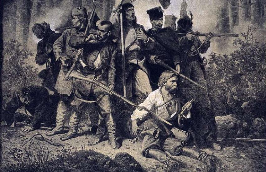 Bitwy powstania styczniowego to w większości małe potyczki, które nie przerodziły się w duże starcia - rycina Gierymskiego