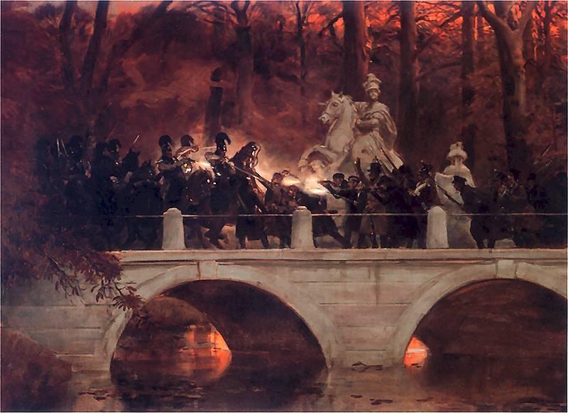 Reprodukcja Starcie belwederczyków z kirasjerami rosyjskimi na moście w Łazienkach 29 listopada 1830, Wojciech Kossak oraz przebieg powstania listopadowego