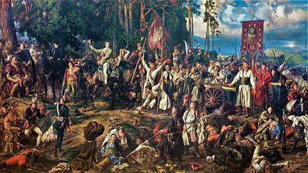 Bitwa pod Racławicami miała burzliwy przebieg, a jej znaczenie jest bardzo duże - wyobrażenie bitwy Jana Matejki