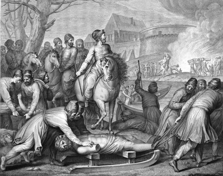 Chrzest Polski oznaczał koniec wierzeń w słowiańskich i pogańskich bogów - na obrazie Mieszko kruszy bałwany pogańskie Wilczyńskiego