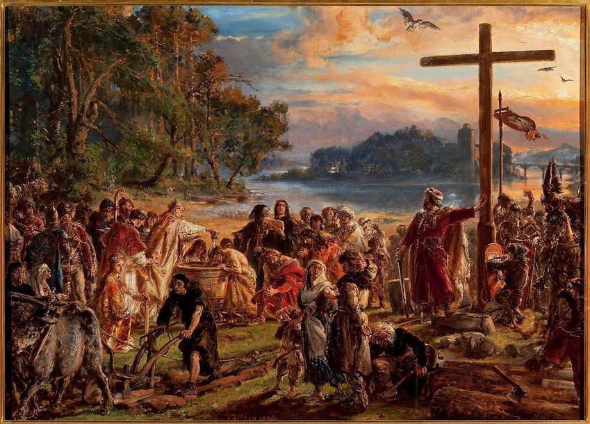 Chrzest Polski w wyobrażeniu Jana Matejki jako chrzest ludzi wszystkich stanów a także znaczenie wydarzenia w historii Polski