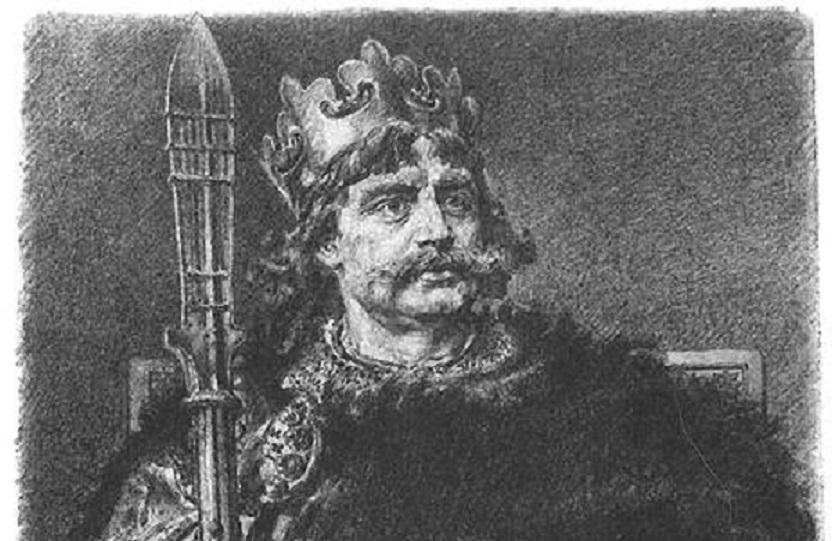 Mieszko I miał syna z Dobrawą i następcę - Bolesława Chrobrego, któy objął tron. Wizerunek Mieszka II na rycinie Ksawerego Pillatiego