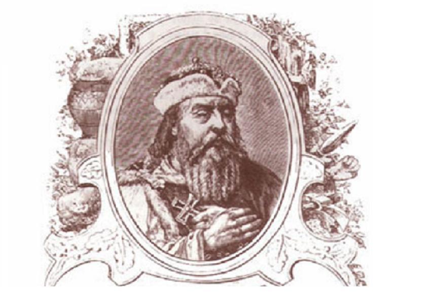Mieszko I miał dwie żony i kilkoro dzieci z obu małżeństw - rycina przedstawiająca Mieszka I w wyobrażeniu Ksawerego Pillatiego