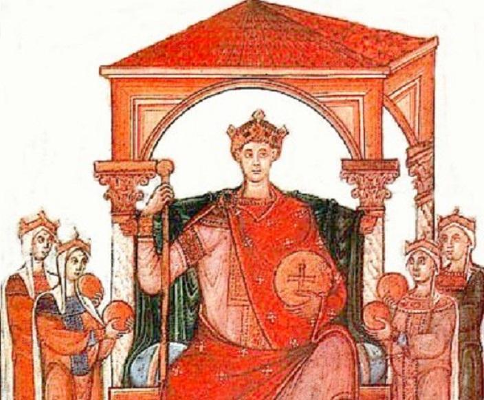 Mieszko I miał układy z Ottonem II, widocznym na obrazie władcą Prus - miniatura z Ewangeliarza Ottona III
