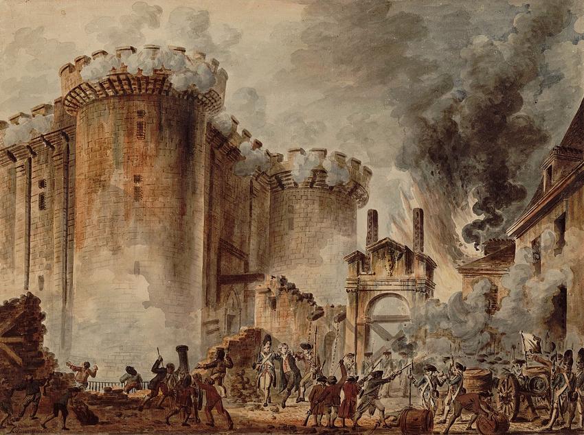 Rewolucja francuska rozpoczeła się od zburzenia Bastylii - wydarzenie na obrazie Prise de la Bastille Jean Pierre Houela