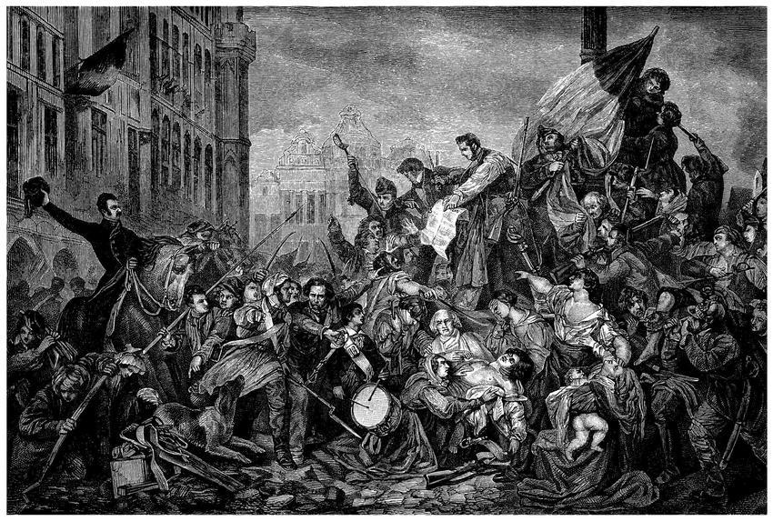 Rewolucja francuska trwała przez kilka lat, podczas których dochodziło do ulicznych drobnych bitew, napadów na sklepy i pałace - rycina przedstawiająca uliczną walkę