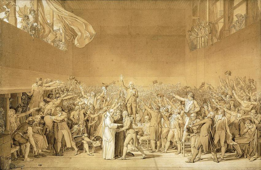 Przysięga w sali do gry w połkę Jacques-Louis Davida obrazuje podział społeczeństwa na trzy stany, co doprowadziło do Rewolucji Francuskiej