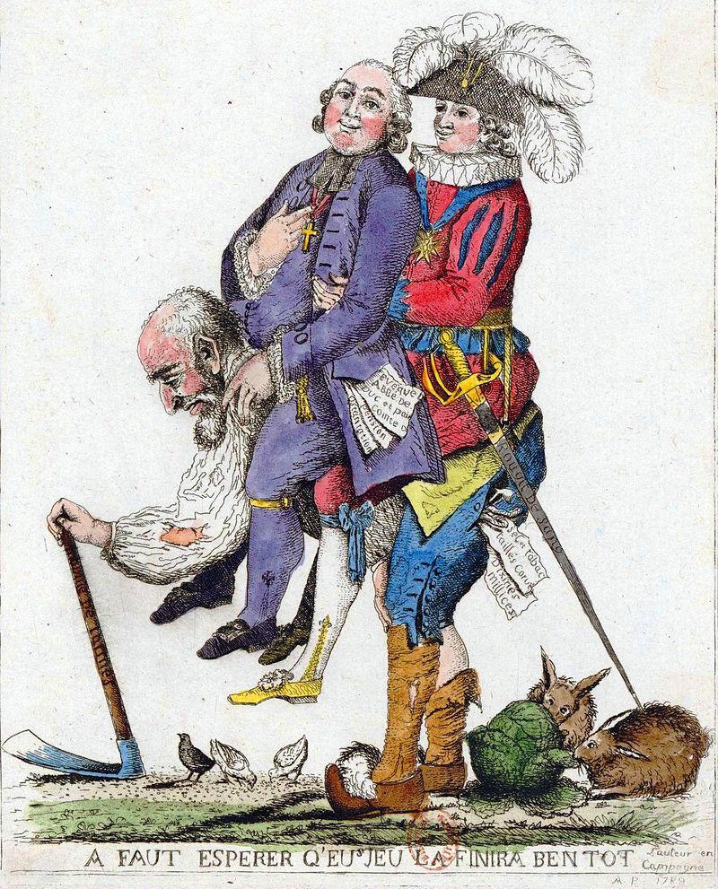 Trzy stany we Francji, czyli podzielone społeczeństwo na satyrycznym rysunku z epoki nieznanego autora: chłop niesie na swoich barkach arystokratę i duchownego