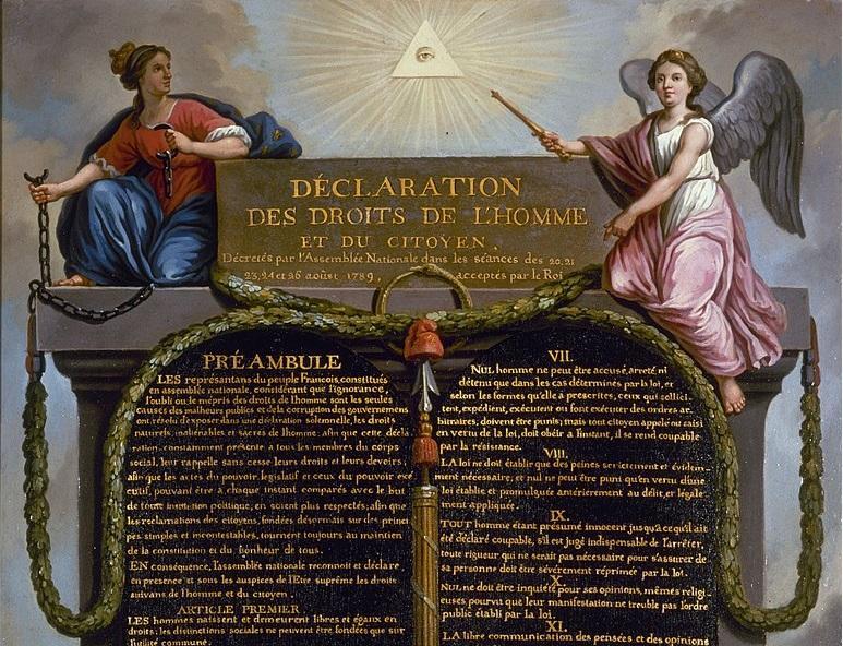 Obraz przedstawiający Deklarację praw człowieka i obywatela, a także skutki i data wydania dokumentu oraz jej znaczenie dla historii Francji