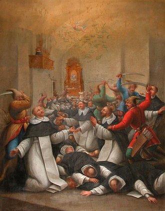 Obraz przedstawiający rzeź dominikańskich mnichów w kościele sandomierskim w czasie oblężenia Sandomierza oraz inne popularne oblężania w średniowieczu