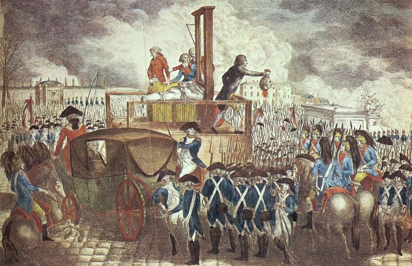 Egzekucja króla Ludwika XVI odbyła się w 1793 roku, została utrwalona na obrazie Georga Heinricha Sievekinga