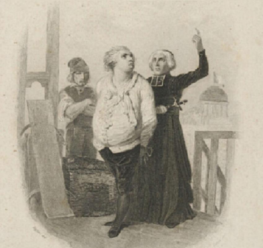 Egzekucja Ludwika XVI odbyła się w 1793 r i była końcem władzy monarszej we Francji - rycina przedstawia ostatnie chwile króla