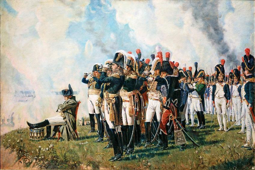 Wyprawa Napoleona na Rosję oznaczało bardzo wiele wielkich bitew, z których najbardziej znacząca była bitwa pod Borodino - Napoleon obserwujący pole bitwy na obrazie Wasilija Wierieszczagina