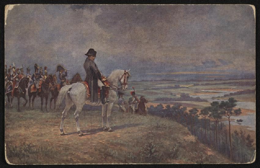 Wyprawa Napoleona na Rosję trwała zaledwie kilka miesięcy, ale w jej czasie zmieniło się oblicze świata - rycina Wiktora Mazurowskiego przedstawia wodza na koniu