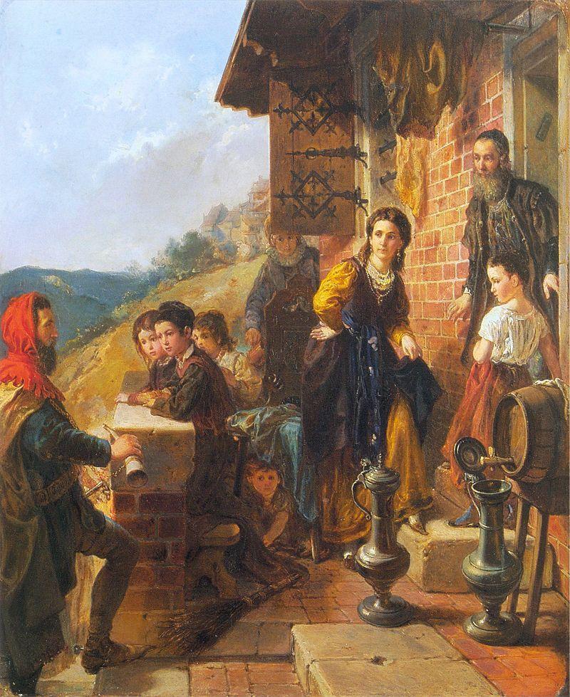 Kazimierz Wielki u Esterki Władysława Łuszczykiewicza przedstawiający wizytę dieci Kazimierza Wielkiego i Esterki