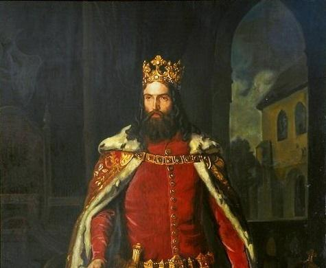 Kazimierz Wielki na obrazie Leopolda Loefflera z 1864 roku z dokumentami w dłoni