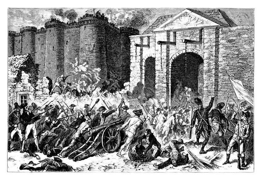 Kalendarz rewolucji francuskiej zaczyna się od zburzenia Bastylii, czyli początek rewolucji francuskiej na rycinie