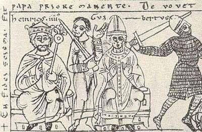 Najgorsi papierze świata, czyli Klement skonfliktowany z Henrykiem IV - rycina pochodząca z epoki