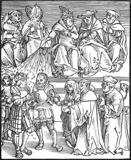 Polityka papieska, czyli rycina z czasów Marcina Lutra, przedstawiająca papieży, a także sylwetki innych niezasłużonych papieży w dziejach świata