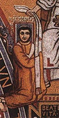 Papież Leon III na mozaice z drobnych kamieni, a także inne sylwetki najgorszych papieży wraz z datami i opisem pontyfikatu