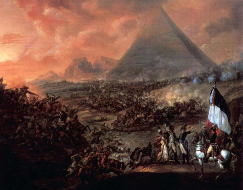 Wyprawy Napoleona dotarły aż do Egiptu - wyobrażenie zbliżania się wojsk napoleoński do piramid na obrazie Francois-Louis-Joseph Watteau