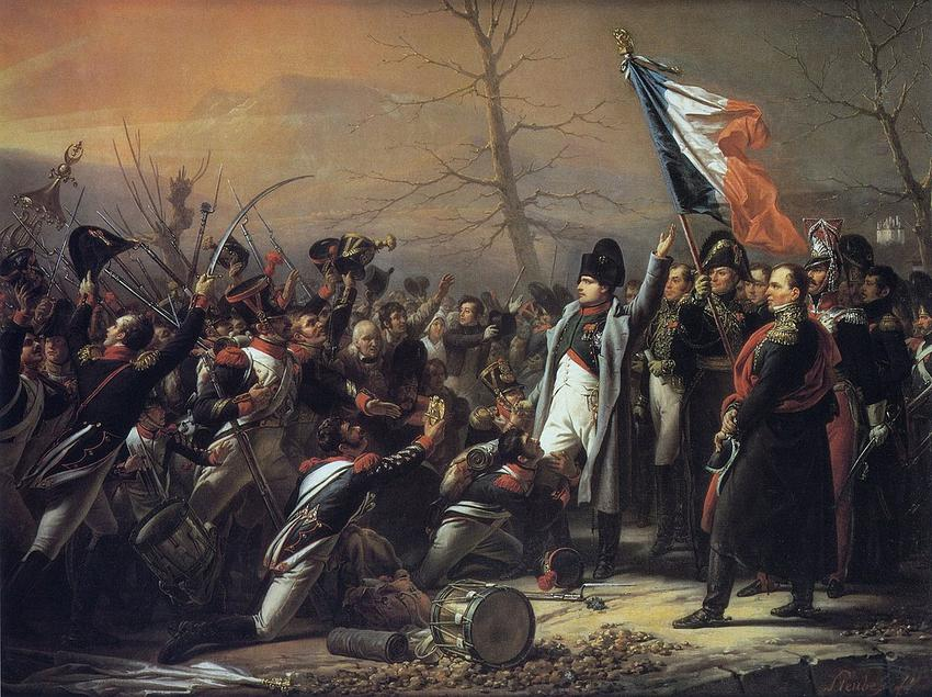 Wyprawy Napoleona pod francuską flagą na obrazie Charles de Steubena przedstawiające powrót Napoleona z Elby