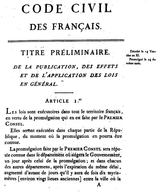 Kodeks Napoleona wprowadzał ważne zmiany w prawie cywilnym - tytułowa strona wydrukowanego kodeksu