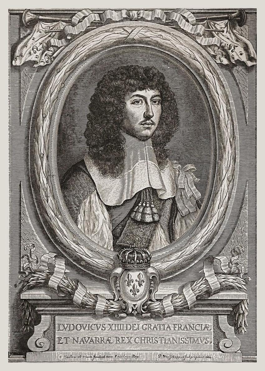 Budowa Wersalu została zlecona przez króla Ludwika XIV, króla Francji i Nawarry - rycina przedstawiająca wizerunek młodego władcy