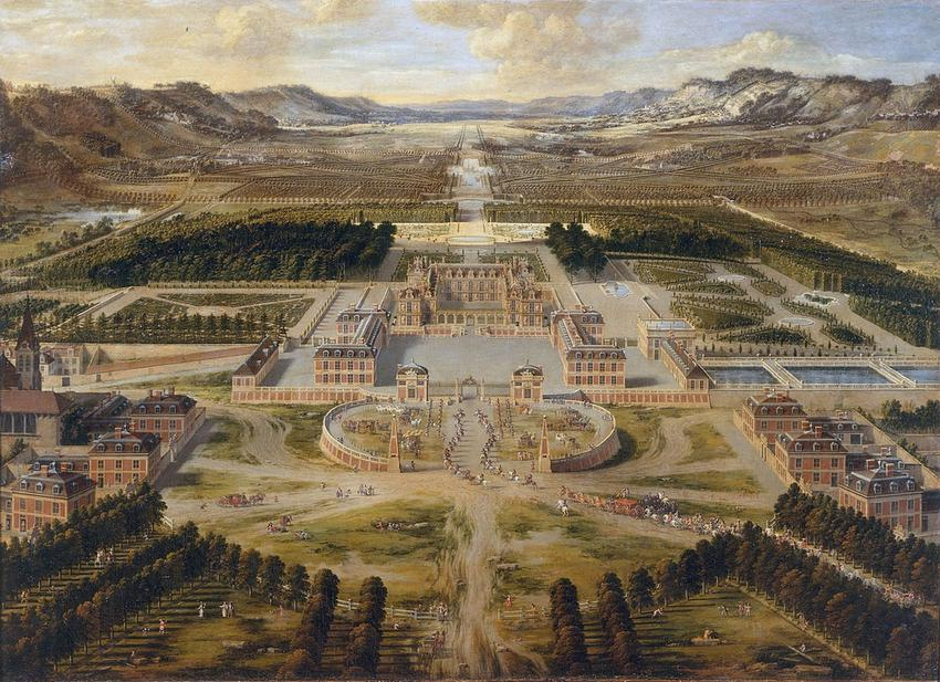 Budowa Wersalu trwała kilka lat, a pałac był wciąż rozbudowywany - obraz Pierre'a Patela z 1668 r. przedstawiający Wersal z lotu ptaka
