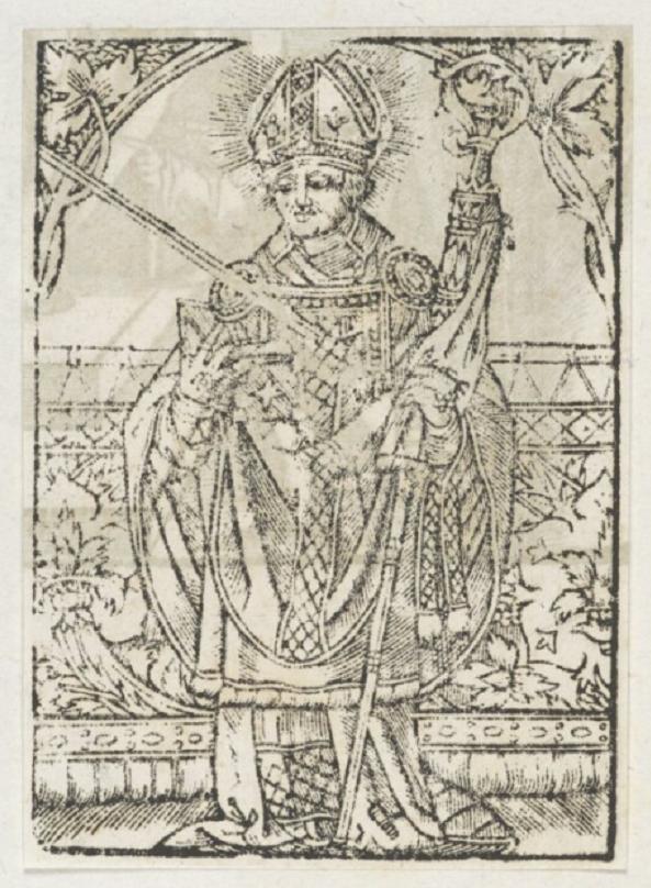 Rycina z 1585 roku przedstawiająca świętego Wojciecha z atrybutami, a także pochodzenie, życiorys i znaczenie świętego