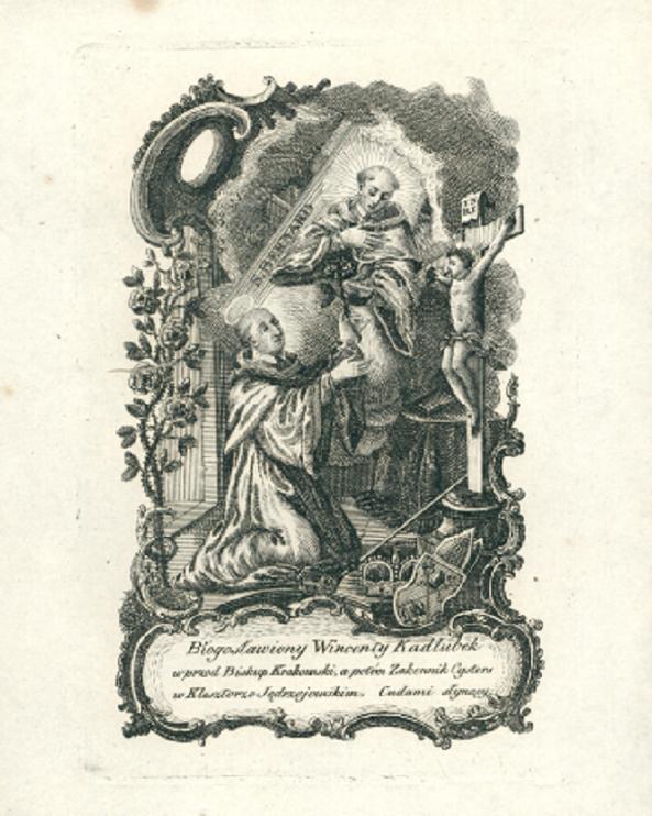 Kronika Wincentego Kadłubka spisywała dzieje Polski, a jej autor został ogłoszony błogosławionym - autor na rycinie z XVIII wieku