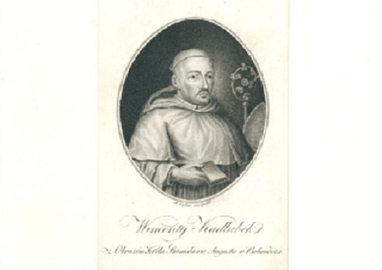 Wincenty Kadłubek, wybitny kronikarz dziejów Polski i święty Kościoła Katolickiego na rycinie z 1803 r.