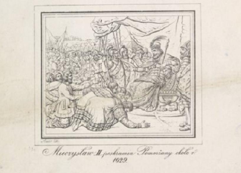 Mieszko II Lambert na Pomorzu wywalczył władzę w Polsce - rycina Franciszka Szmuglewicza z XVIII w.