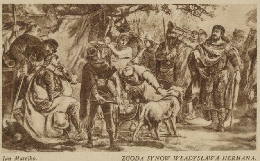 Zgoda synów Władysława Hermana, obraz Jana Matejki, ukazujący zakończenie wojny Braci i zgodę między Zbigniewem a Bolesławem Krzywoustym